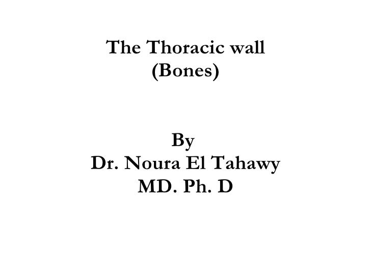 The Thoracic wall (Bones) By  Dr. Noura El Tahawy MD. Ph. D
