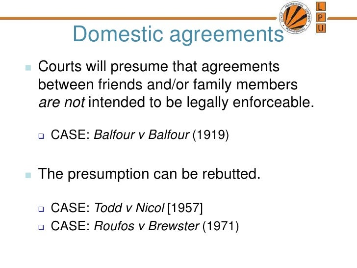 balfour v balfour 1919 In 1919, balfour v balfour gave birth to the intention to create legal relations doctrine in contract law in a dispute between a husband and wife, lord justice atkin.