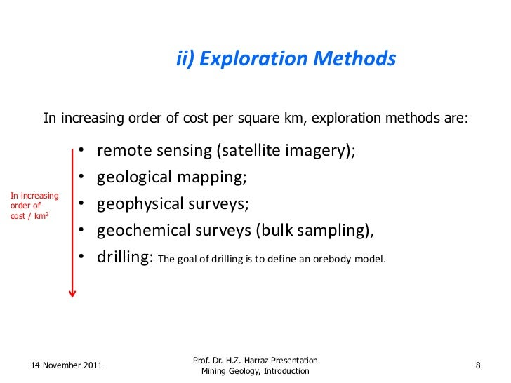 various techniques in prospecting and exploration of mineral deposits Reserve definition classifies the various parts of mineral deposits as ore  these techniques can be used to evaluate sequential exploration data with an  prospecting, and detailed exploration can establish an.