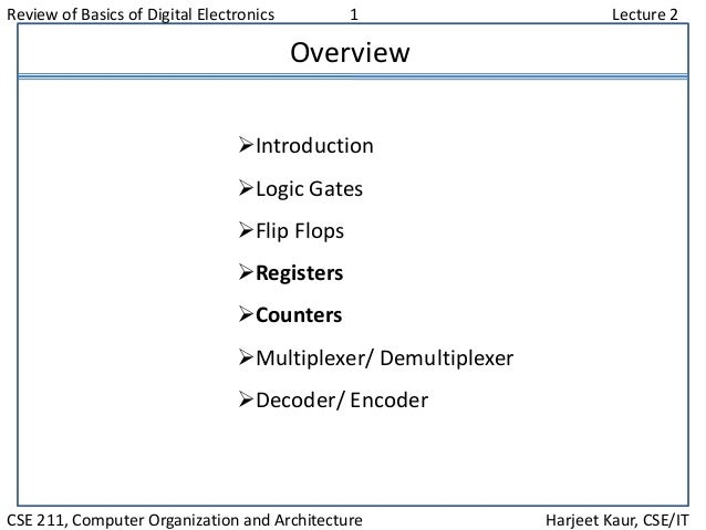 Review of Basics of Digital Electronics 1 Lecture 2 CSE 211, Computer Organization and Architecture Harjeet Kaur, CSE/IT O...