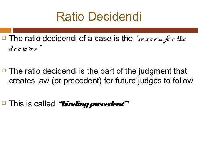 RATIO DECIDENDI