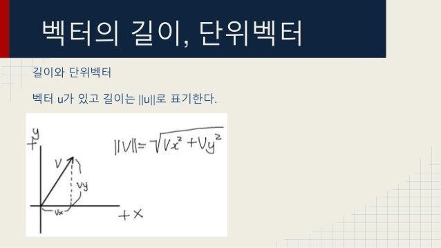 벡터의 길이, 단위벡터 길이와 단위벡터 벡터 u가 있고 길이는   u  로 표기한다.