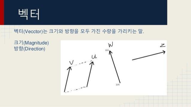 벡터 벡터(Vecctor)는 크기와 방향을 모두 가진 수량을 가리키는 말. 크기(Magnitude) 방향(Direction)