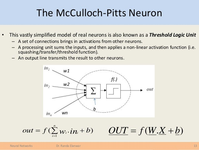 McCulloch Pitts Neurons (page 1) - The Mind Project