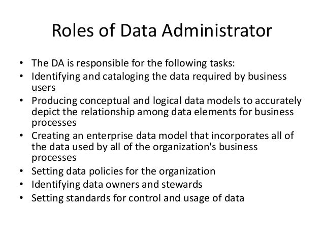 roles of database administrator in an organization