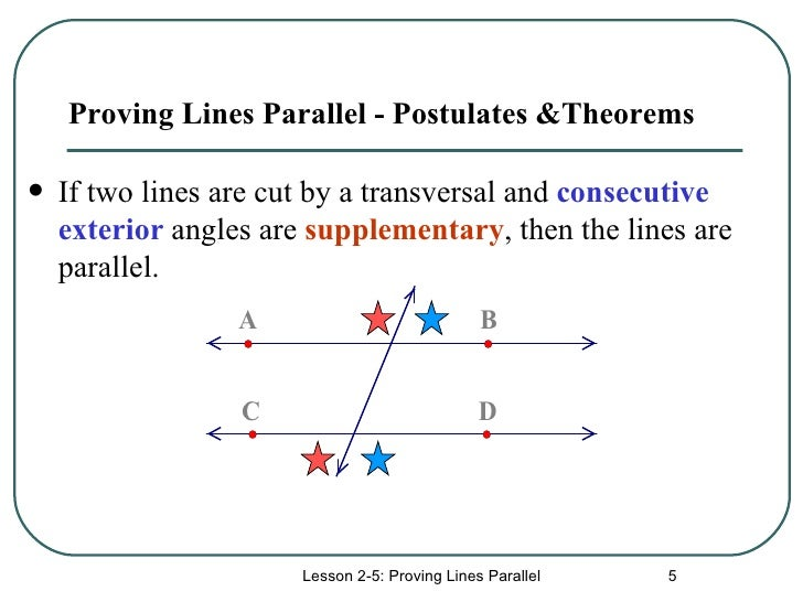Proving lines parallel for Consecutive exterior angles theorem