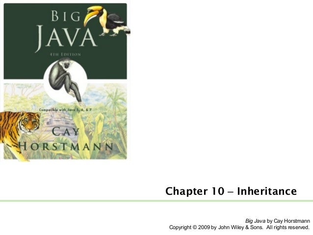 Chapter 10 – Inheritance Big Java by Cay Horstmann Copyright © 2009 by John Wiley & Sons. All rights reserved.