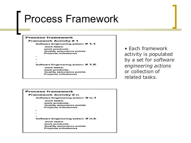 Process Framework  • Each framework  activity is populated  by a set for software  engineering actions  or collection of  ...