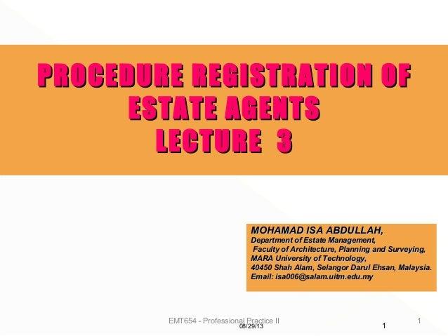 EMT654 - Professional Practice II 1 MOHAMAD ISA ABDULLAH,MOHAMAD ISA ABDULLAH, Department of Estate Management,Department ...