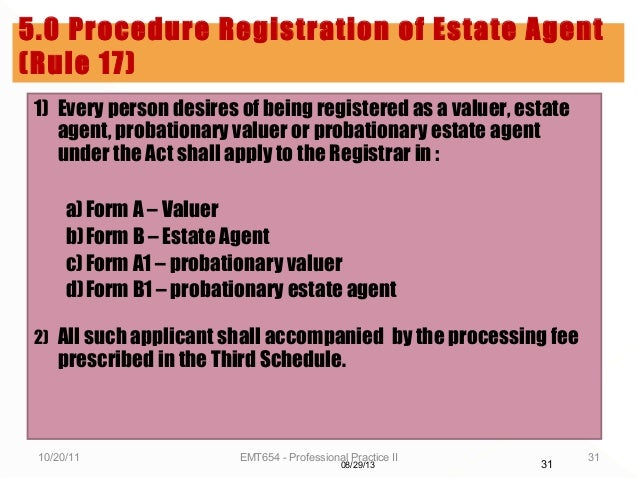 Lecture 2 registration of estate agents