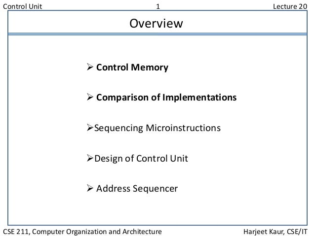 Control Unit 1 Lecture 20 CSE 211, Computer Organization and Architecture Harjeet Kaur, CSE/IT Overview  Control Memory ...