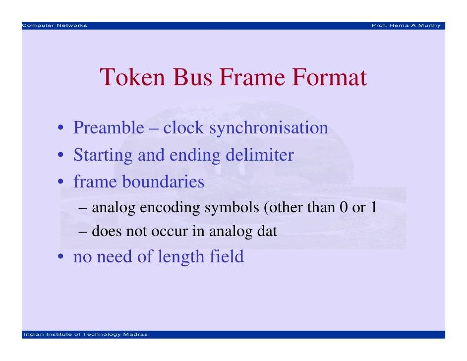 Computer Networks                                          Prof. Hema A Murthy                      Token Bus Frame Format...