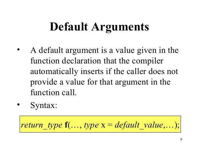 Default arguments c++ example pdf