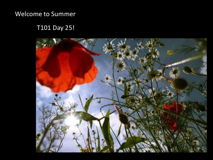 Welcome to Summer <br />T101 Day 25!<br />