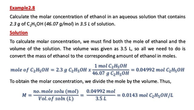solutions and their concentrations in Analytical chemistry