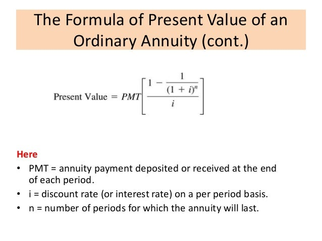 annuity calculator excel equation for the present value of an