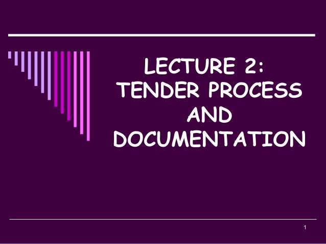 1 LECTURE 2: TENDER PROCESS AND DOCUMENTATION