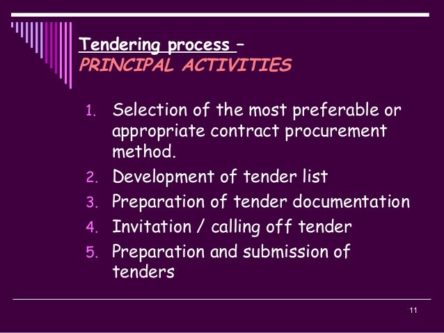 11 Tendering process – PRINCIPAL ACTIVITIES 1. Selection of the most preferable or appropriate contract procurement method...
