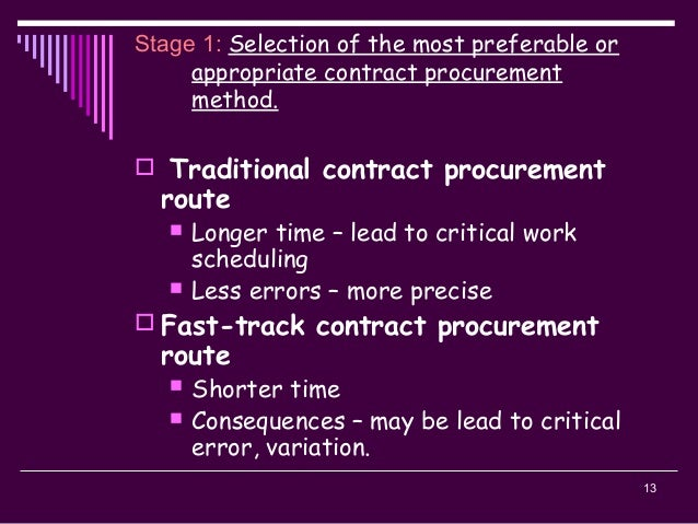 13 Stage 1: Selection of the most preferable or appropriate contract procurement method.  Traditional contract procuremen...