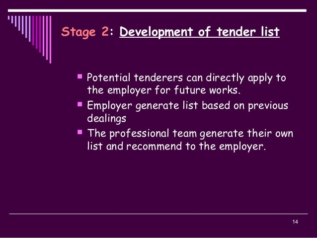 14 Stage 2: Development of tender list  Potential tenderers can directly apply to the employer for future works.  Employ...
