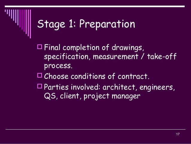 17 Stage 1: Preparation  Final completion of drawings, specification, measurement / take-off process.  Choose conditions...