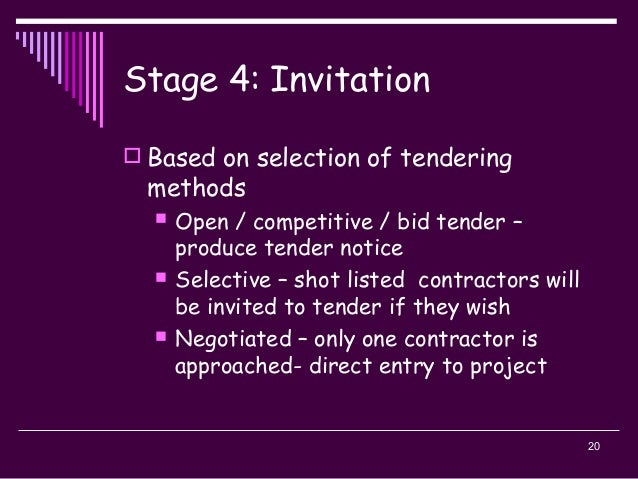 20 Stage 4: Invitation  Based on selection of tendering methods  Open / competitive / bid tender – produce tender notice...