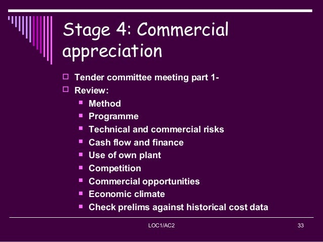 LOC1/AC2 33 Stage 4: Commercial appreciation  Tender committee meeting part 1-  Review:  Method  Programme  Technical...