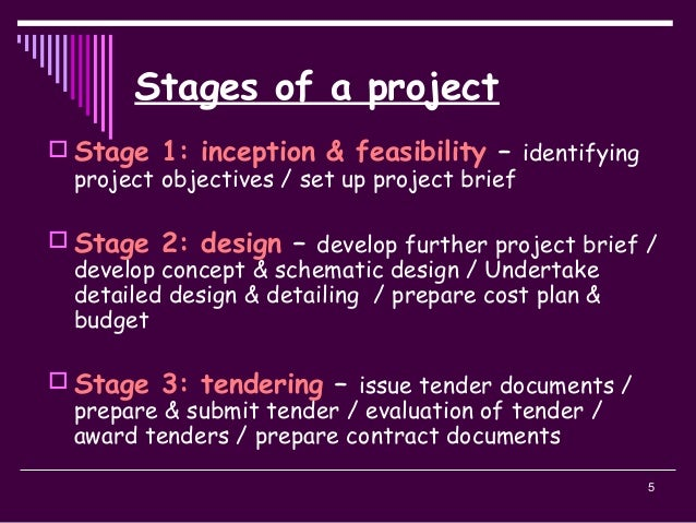 5 Stages of a project  Stage 1: inception & feasibility – identifying project objectives / set up project brief  Stage 2...