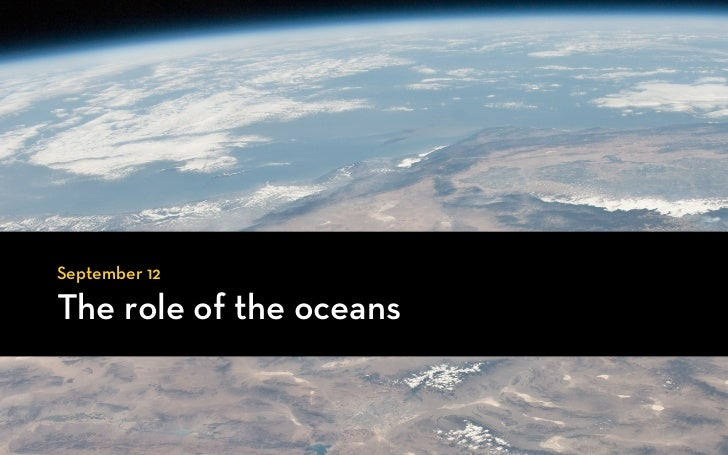 September 12The role of the oceans
