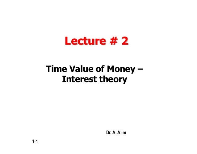 Lecture # 2 Time Value of Money – Interest theory 1-1 Dr. A. Alim