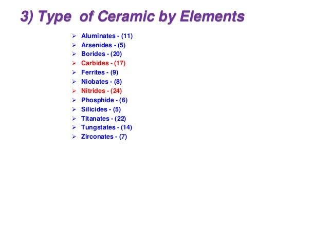 3) Type of Ceramic by Elements  Aluminates - (11)  Arsenides - (5)  Borides - (20)  Carbides - (17)  Ferrites - (9) ...