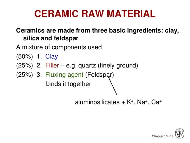 Chapter 13 -19 CERAMIC RAW MATERIAL Ceramics are made from three basic ingredients: clay, silica and feldspar A mixture of...