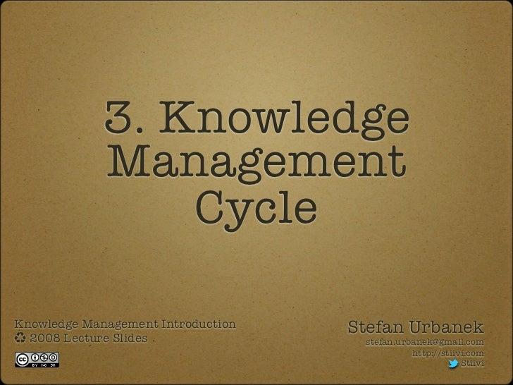 3. Knowledge             Management                 CycleKnowledge Management Introduction   Stefan Urbanek  2008 Lecture ...