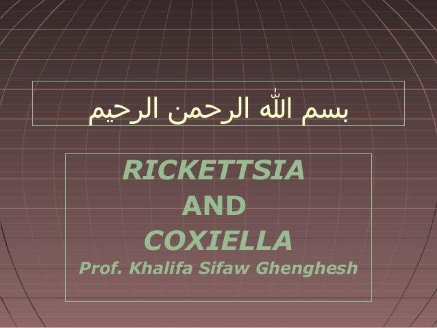 بسم ا الرحمن الرحيم RICKETTSIA AND COXIELLA Prof. Khalifa Sifaw Ghenghesh