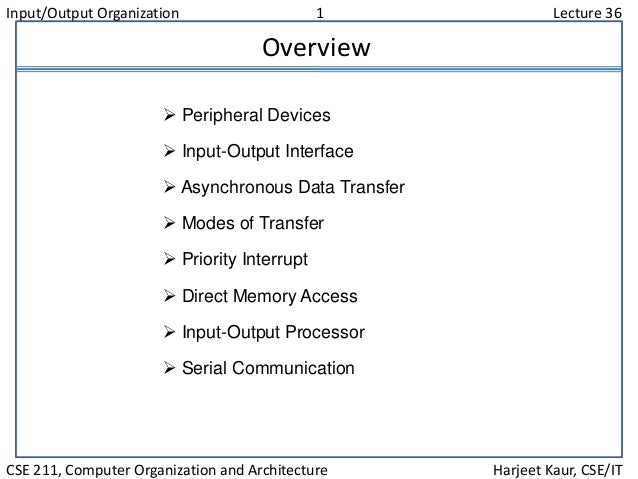 Input/Output Organization 1 Lecture 36 CSE 211, Computer Organization and Architecture Harjeet Kaur, CSE/IT Overview  Per...