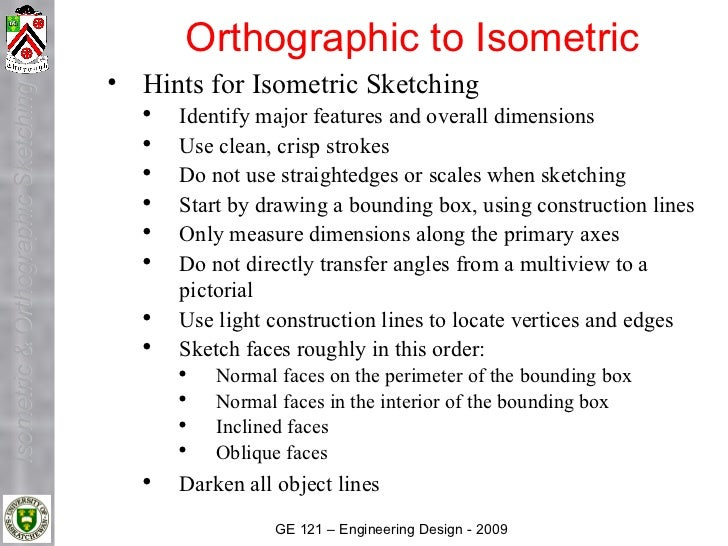 Orthographic to Isometric                                      • Hints for Isometric Sketching Isometric & Orthographic Sk...