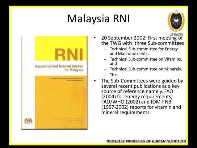 rni malaysia Rni malaysia 2005 - download as pdf file (pdf), text file (txt) or read online recommended nutrient intake for malaysia 2005.