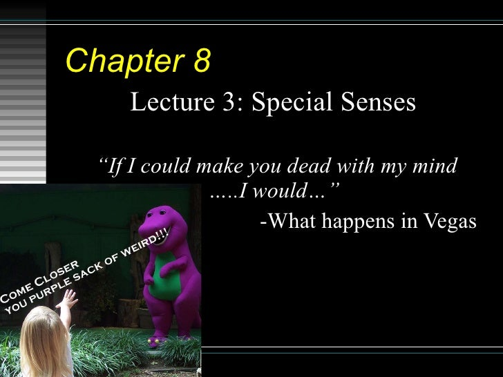 """Chapter 8   Lecture 3: Special Senses  """" If I could make you dead with my mind …..I would…""""  -What happens in Vegas"""