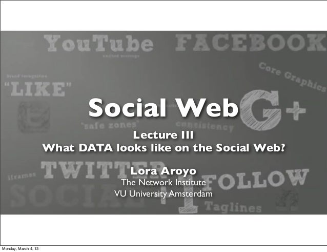 Social Web                                   Lecture III                      What DATA looks like on the Social Web?     ...