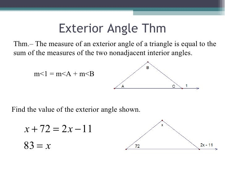 Lecture 4 1 4 2 - Measure of exterior angles of a triangle ...