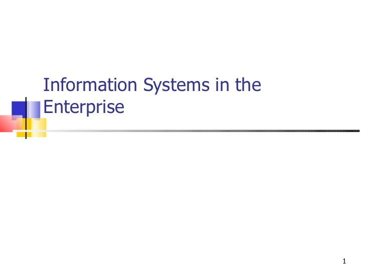 Information Systems in theEnterprise                             1