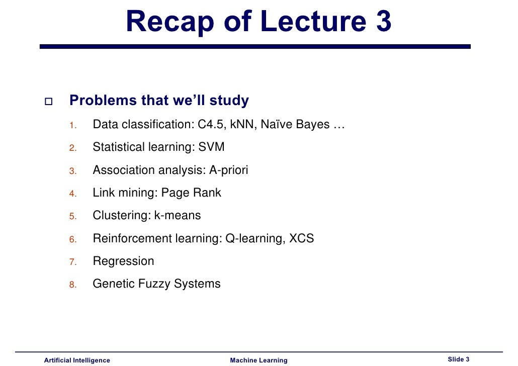 Lecture4 - Machine Learning