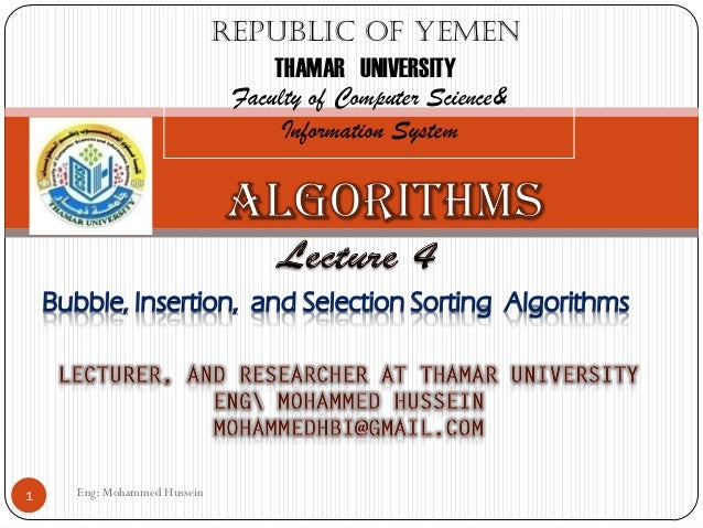 Eng: Mohammed Hussein1Republic of YemenTHAMAR UNIVERSITYFaculty of Computer Science&Information System