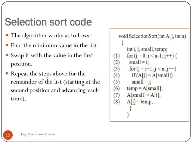 Write a selection sort algorithm time