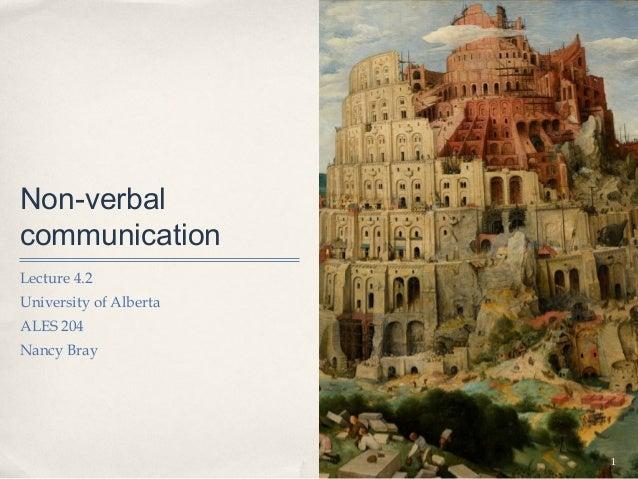 Non-verbalcommunicationLecture 4.2University of AlbertaALES 204Nancy Bray                        1
