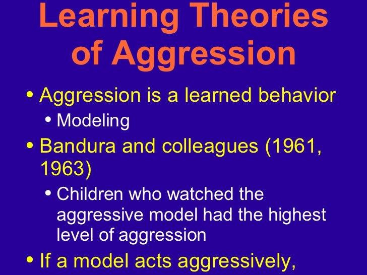 Learning Theories of Aggression <ul><li>Aggression is a learned behavior </li></ul><ul><ul><li>Modeling </li></ul></ul><ul...