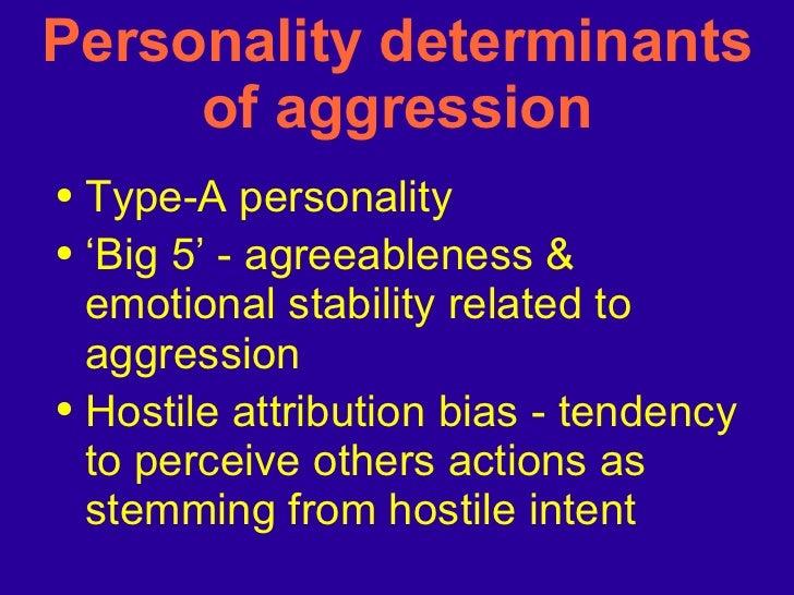 Personality determinants of aggression <ul><li>Type-A personality </li></ul><ul><li>'Big 5' - agreeableness & emotional st...
