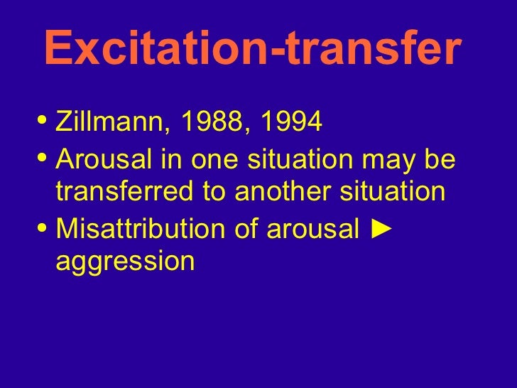 Excitation-transfer  <ul><li>Zillmann, 1988, 1994 </li></ul><ul><li>Arousal in one situation may be transferred to another...