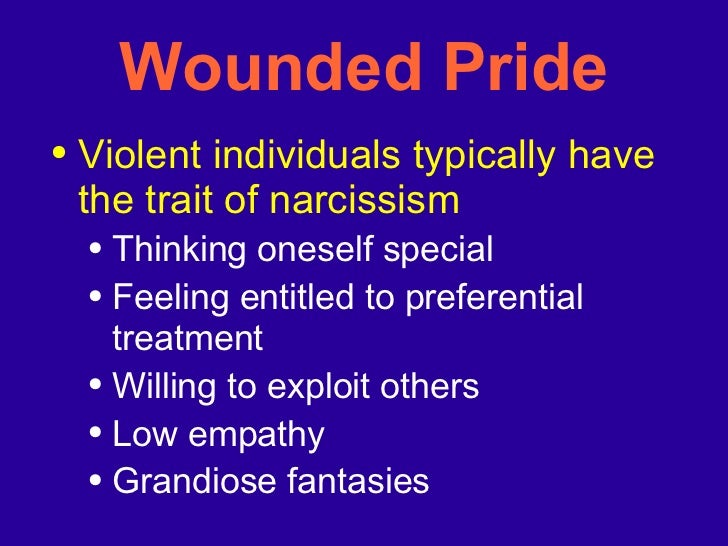 Wounded Pride <ul><li>Violent individuals typically have the trait of narcissism </li></ul><ul><ul><li>Thinking oneself sp...