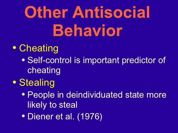 Other Antisocial Behavior <ul><li>Cheating </li></ul><ul><ul><li>Self-control is important predictor of cheating </li></ul...